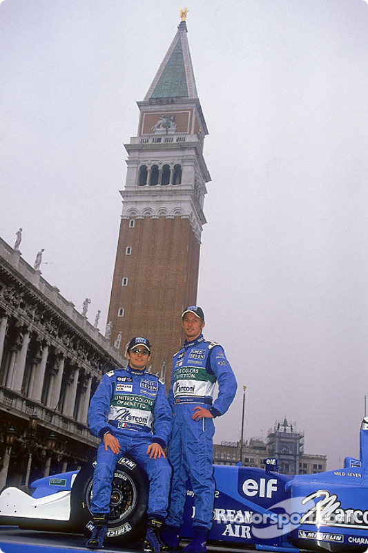 Giancarlo Fisichella and Jenson Button at the launch of the new B201