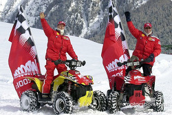Schumi and Rubinho on their ATV