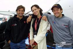 Christian Fittipaldi, actress Minnie Driver and Cristiano da Matta