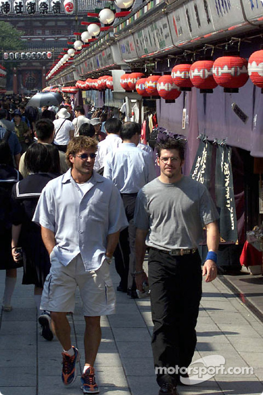 Alex Tagliani and Patrick Carpentier check out the kiosks at Asakusa Temple in a more traditional area of Tokyo.