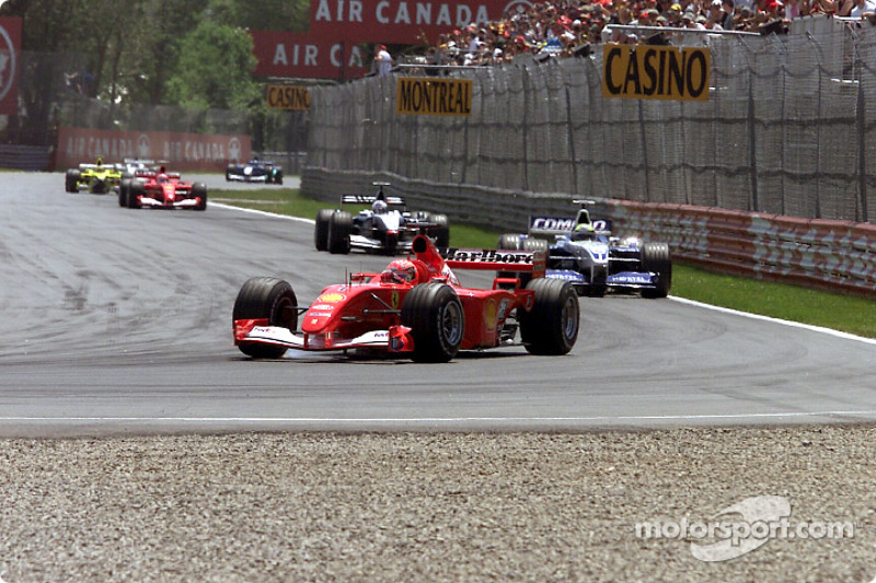 First lap: Michael Schumacher, Ralf Schumacher and David Coulthard