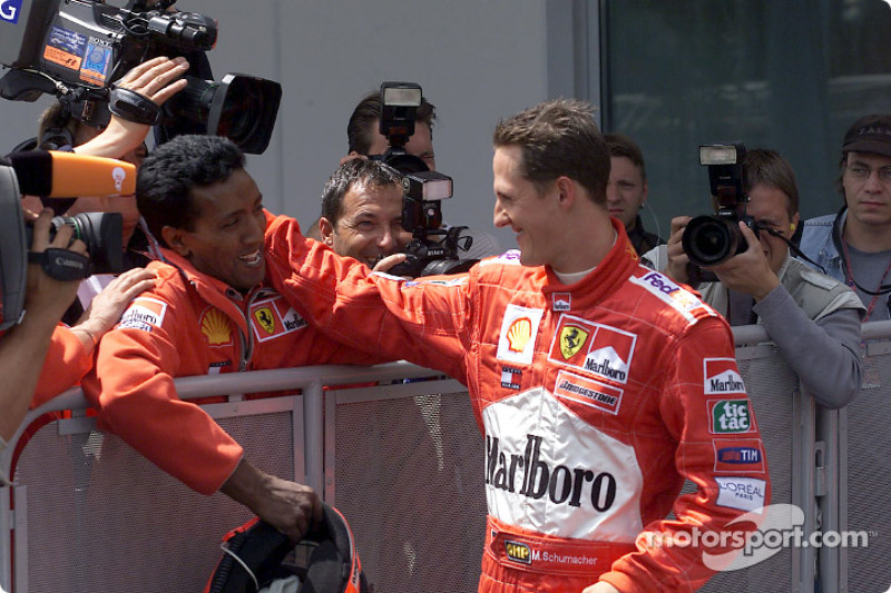 Michael Schumacher celebrating