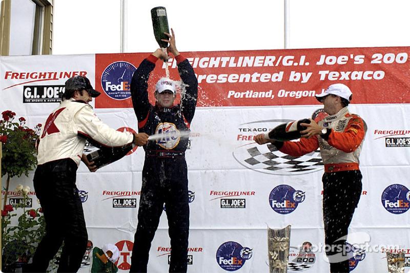The podium: Christian Fittipaldi, Max Papis and Roberto Moreno