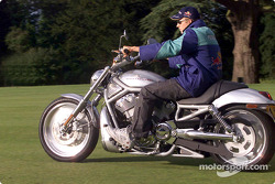 Kimi Raikkonen riding a Harley-Davidson