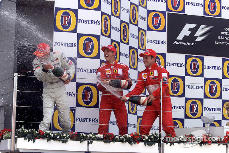 The podium: Mika Hakkinen, Michael Schumacher and Rubens Barrichello