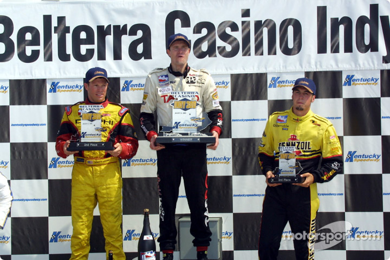 The podium: Scott Sharp, Buddy Lazier and Sam Hornish Jr.