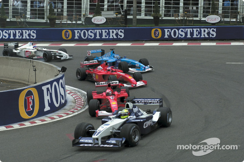 First start: Ralf Schumacher leading Michael Schumacher, Rubens Barrichello, Giancarlo Fisichella and Jacques Villeneuve
