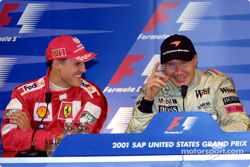 Press conference: Michael Schumacher and Mika Hakkinen