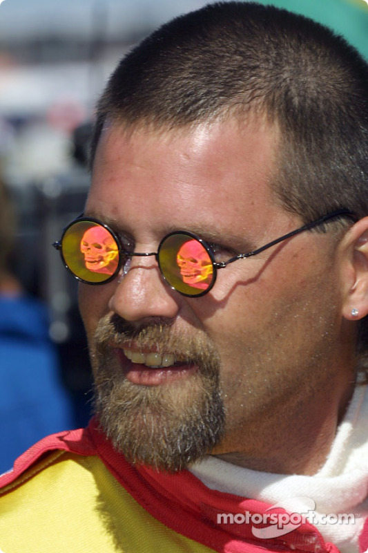 Sam Schmidt crew member  and his scary sunglasses