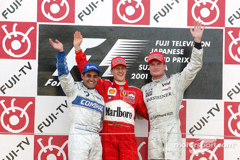2001: 1. Michael Schumacher, 2. Juan Pablo Montoya, 3. David Coulthard
