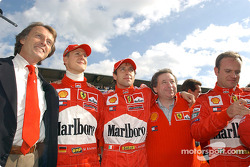 Luca di Montezemelo, Michael Schumacher, Luca Badoer, Jean Todt and Rubens Barrichello