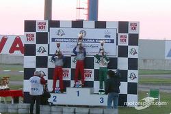 InterContinental A 100cc: podium with winner Niki Sebastiani (Top Kart-Parilla), second Valentino Sebastiani (Top Kart-Parilla) and third Stefano Albertini (Tony Kart-Vortex)