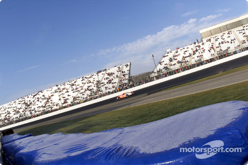Ricky Craven makes an early morning practice run as frost covers the tire barrier