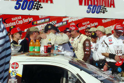 Dale Jarrett celebrating