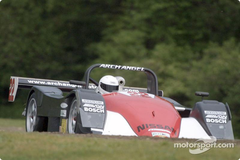 #21 Archangel Motorsport Services Nissan Lola races around Lime Rock