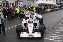 Olivier Panis in the BAR Honda 004 for a demonstration run around the factory in Brackley
