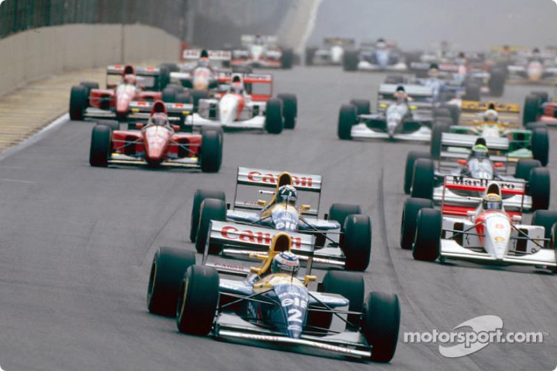 La salida: Alain Prost, Damon Hill y Ayrton Senna