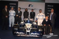 Gerhard Berger, Ralf Schumacher, Dr. Mario Theissen, Gavin Fisher, Sam Michael, Juan Pablo Montoya, Frank Williams and Patrick Head