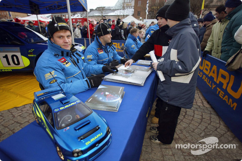 Tommi Makinen, Kaj Lindstrom, Petter Solberg and Phil Mills at an autograph session in Sweden