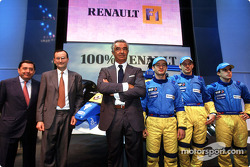 Patrick Faure, Flavio Briatore, Jarno Trulli, Jenson Button and Fernando Alonso