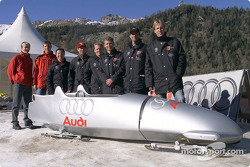 Four rings on four runners instead of four wheels: Mattias Ekström, Martin Tomczyk, Christian Pescatori, Rinaldo Capello, Johnny Herbert, Tom Kristensen, Emanuele Pirro and Frank Biela with the Audi bobsled at the Olympic bob run in St. Moritz