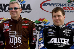 Ryan Newman sharing the introduction stage with veteran driver Dale Jarrett