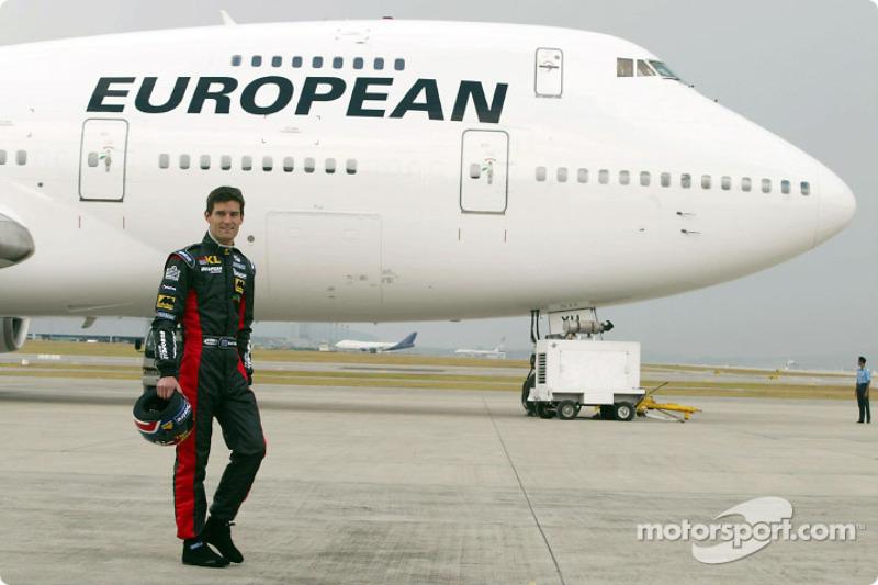 Mark Webber and the European Aviation jetliner