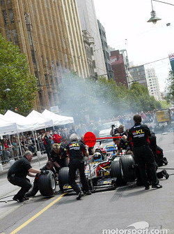 David Saelens during a pitstop demonstration in downtown Melbourne