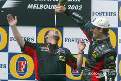 Champagne and podium for Mark Webber and Paul Stoddart