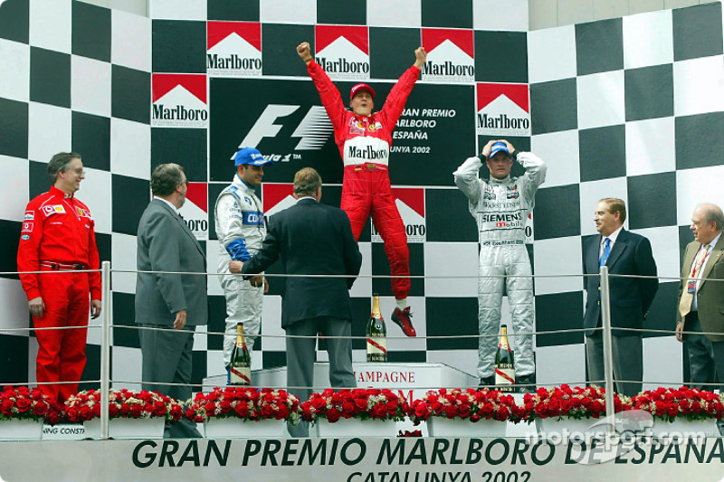 2002 - 1. Michael Schumacher, 2. Juan Pablo Montoya, 3. David Coulthard