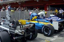 Parc fermé after qualifying: Kimi Raikkonen, Jenson Button and Ralf Schumacher