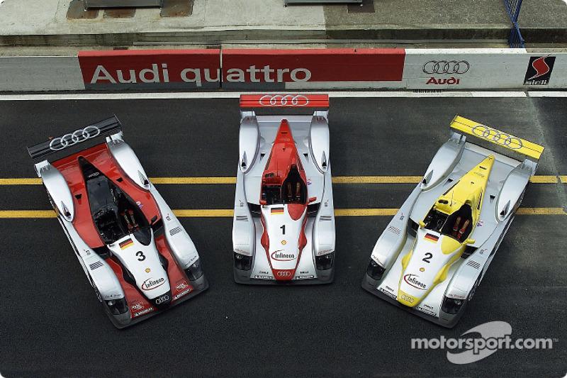 Los tres Infineon Audi R8 para las 24 Horas de Le Mans 2002