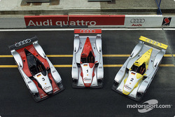 The three Infineon Audi R8 sportscars for the 24 Hours of Le Mans 2002