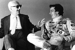 Enzo Ferrari and his spiritual son Gilles Villeneuve sharing a bottle of Lambrusco after a testing session
