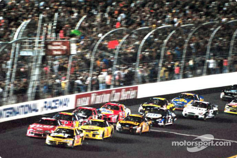 Green flag: Ward Burton leading Dale Earnhardt Jr.