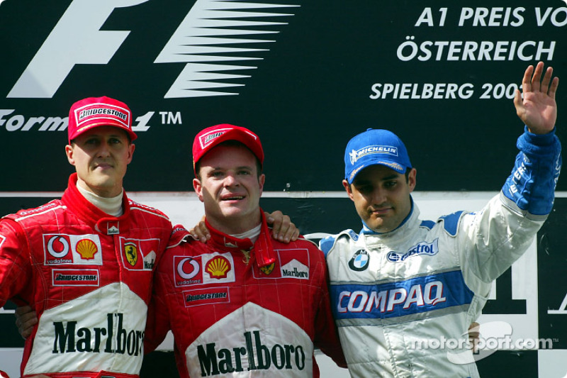 2002: 1. Michael Schumacher, 2. Rubens Barrichello, 3. Juan Pablo Montoya