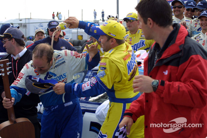 Teammate celebrates with sponsors product