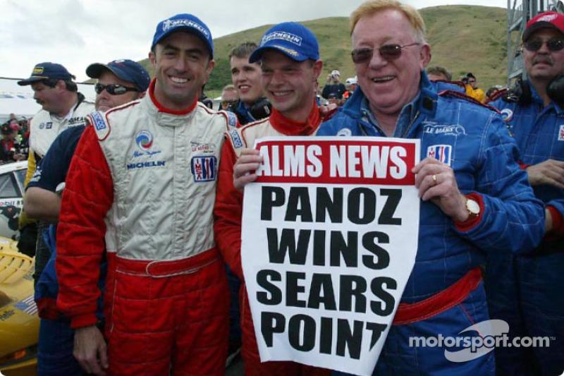 Race winners Jan Magnussen and David Brabham with Don Panoz