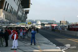 Le Mans pitlane, early Sunday morning