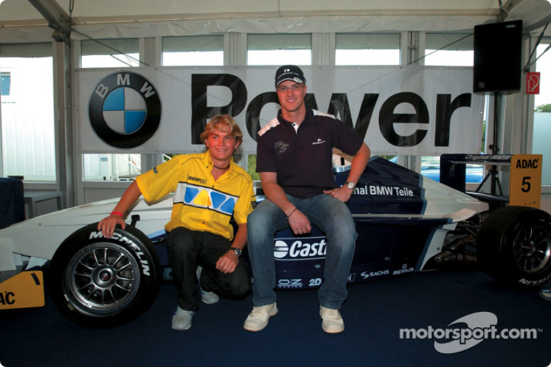 Ralf Schumacher with Nico Rosberg, Championship leader in Formula BMW ADAC
