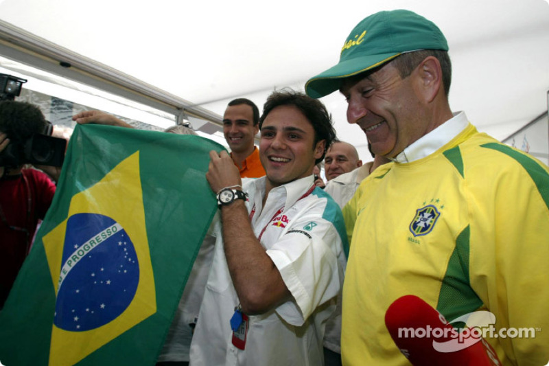 Felipe Massa and Peter Sauber celebrating Brazil victory in the quarter final of the World Cup