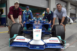 Peter Sauber with Nick Heidfeld and Felipe Massa