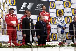 The podium: race winner Michael Schumacher with Rubens Barrichello