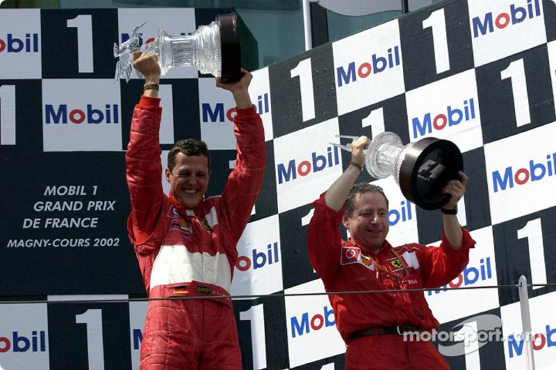 Podium: Michael Schumacher, Jean Todt