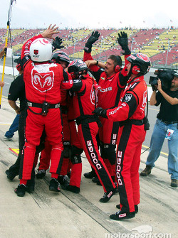 Wiinning team: Bobby Hamilton Racing Dodge team celebrating the win