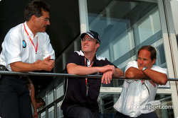 BMW Motorsport Director Mario Theissen celebrating his 50th birthday with friends: Mario Theissen, Ralf Schumacher and Gerhard Berger