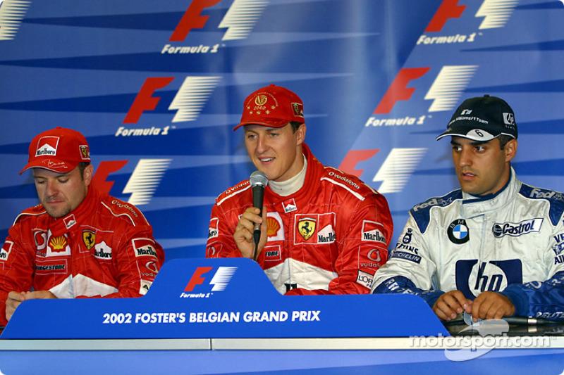 Press conference: race winner Michael Schumacher with Rubens Barrichello and Juan Pablo Montoya
