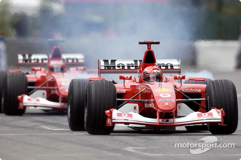 Michael Schumacher heading to the starting grid