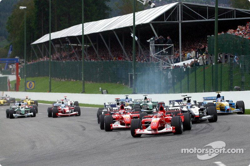 The start: Michael Schumacher and Rubens Barrichello leading the field