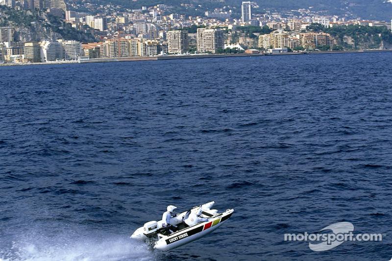 Olivier Panis trying a catamaran powerboat